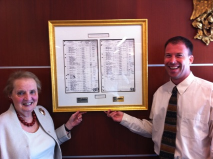 Andrew Marble and Madeleine Albright with S.S. America manifest
